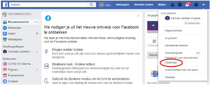 Op Facebook vindt u de instellingen in het menu van uw profiel.
