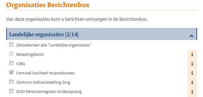 Organisaties berichtenbox